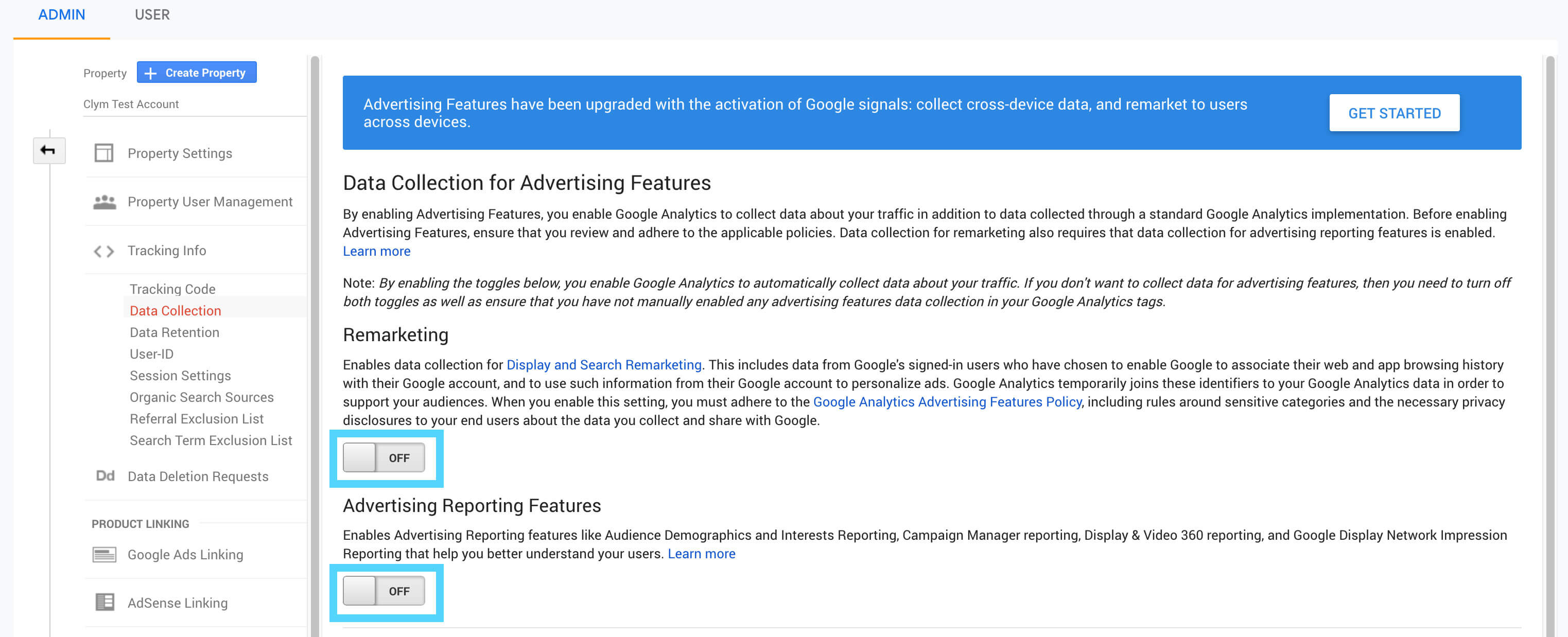 How to disable Data Collection for Advertising purposes in Google Analytics for GDPR and CCPA?